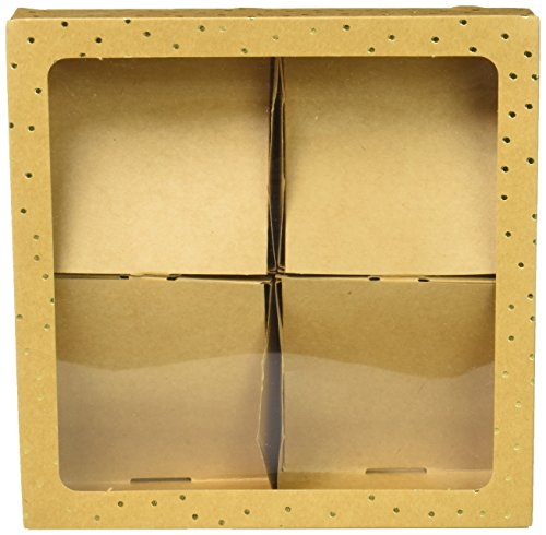 American Crafts 374549Sweet sugarbelle Caja de Galletas de Cuatro Kraft con Oro Dots