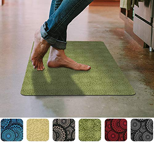 Green Floor Mat Ultra-Thin Kitchen Rug with Non Slip Rubber Backing 35x 23in - Entry Rugs - Washing Machine Safe (Rugs Kitchen Small For)