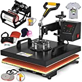 VEVOR Heat Press 15x15 Inch Heat Press Machine 5 in 1 Heat Transfer Press Multifunctional Heat Press Heat Press Machine DIY for T Shirts Cap Press Cup Press Plate