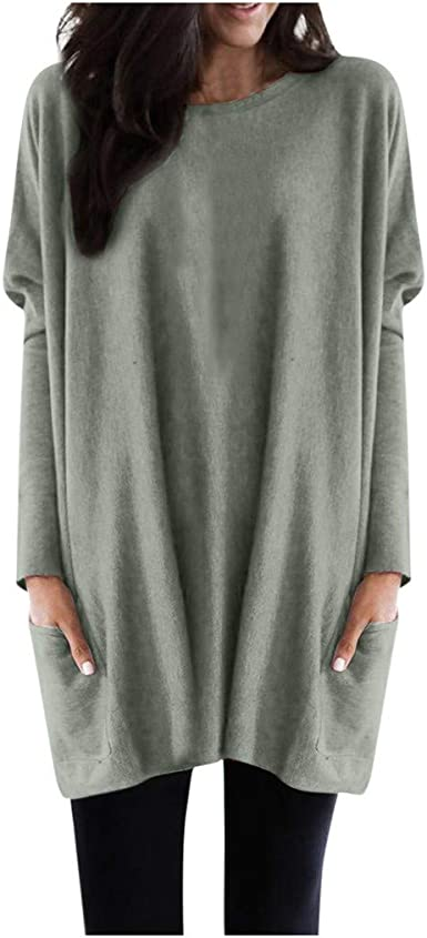 Photno Casual Loose Solid Long Sleeve Pocket Tunic Blouse Plus Size Round Neck Sweatshirt Pullover Tops