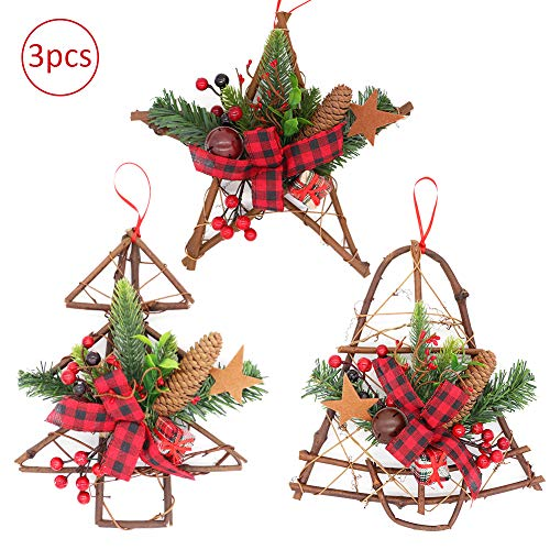 3 Pieces Christmas Grapevine Wreath Hanger, Natural Pine Cone with Red Berries Jingle Bell Bow Ornaments Xmas Garland for Home Party Decoration Holiday Winter Gift (Christmas Primitive Burlap Wreaths)