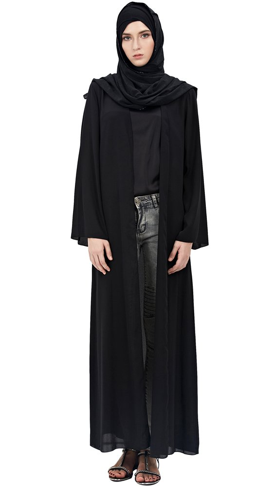 YI HENG MEI Women's Elegant Modest Muslim Islamic Solid Open Front Full Length Abaya Dress,Black,M