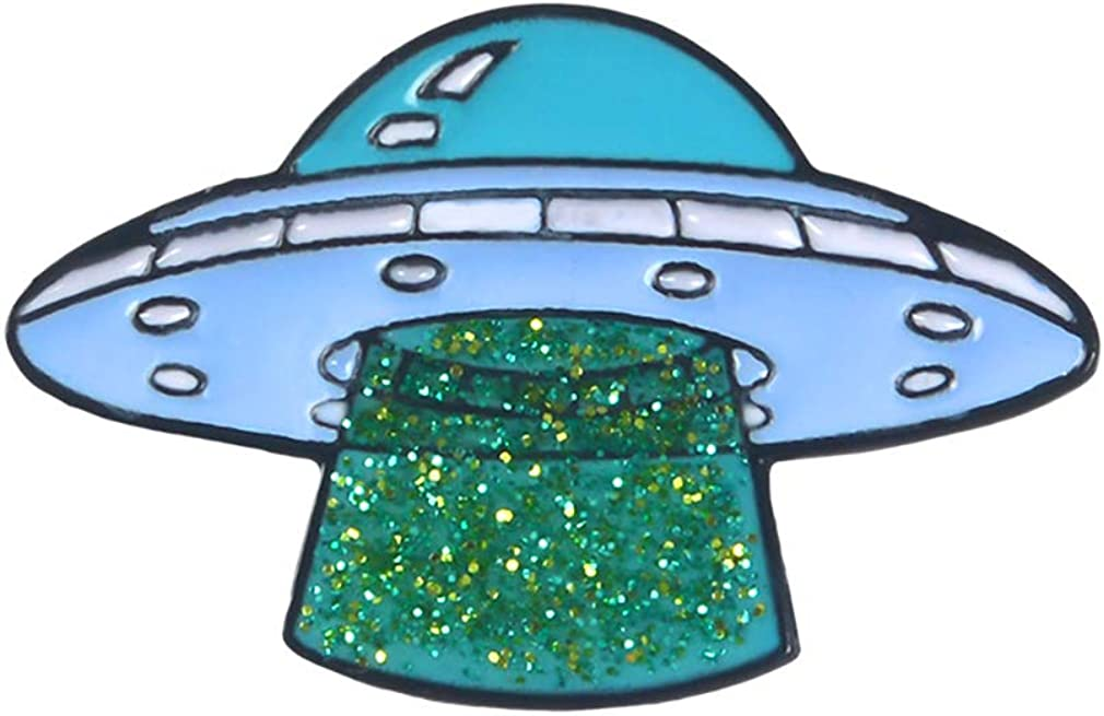 ROSTIVO Novelty Enamel Pin for Boys and Girls Space Lapel Brooch Pin for Women and Men UFO Pins for Backpacks Hats Jackets
