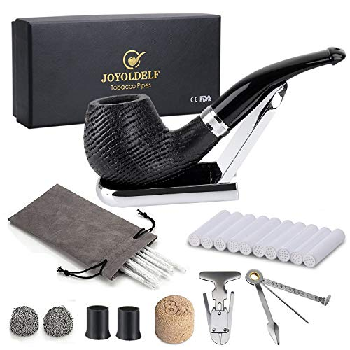 Joyoldelf Oak Tobacco Pipe Set, Wooden Pipe with Foldable Stand, Reamer, 3-in-1 Pipe Scraper and Other Accessories, Bonus a Pipe Pouch with Gift Box