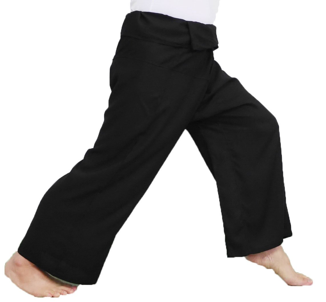 "Yoga Massage Trousers Wrap Black 50"" waist Thai Fisherman Pants, Comfortable Slightly Thin"