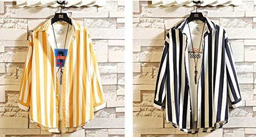 (バイバン)ストライプシャツ メンズ ゆったり 7分丈 ワイシャツ ファッション トップス オシャレ 韓国ファッション 大きいサイズ メンズシャツ