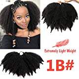 7 Inch Marley Braid Hair 3 Packs Short Mali Bob Crochet Hair Afro Kinky Curly Bomb Crochet Braids Synthetic Braiding Hair (1B#)