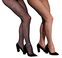 Rhinestone Fishnets Crystal Stocking In Black & Beige