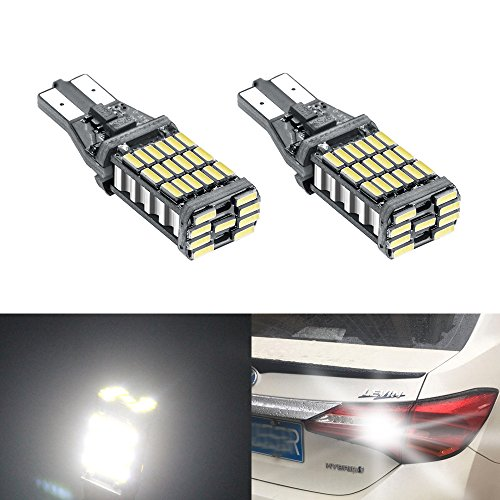 YIJINSHENG 2 Pcs T10 Led Bulb Super Bright 45 SMD 1000Lm 6000K Led Canbus Error Free 912 921 T10 T15 4014 Led Bulbs for Auto Backup Reverse Lights