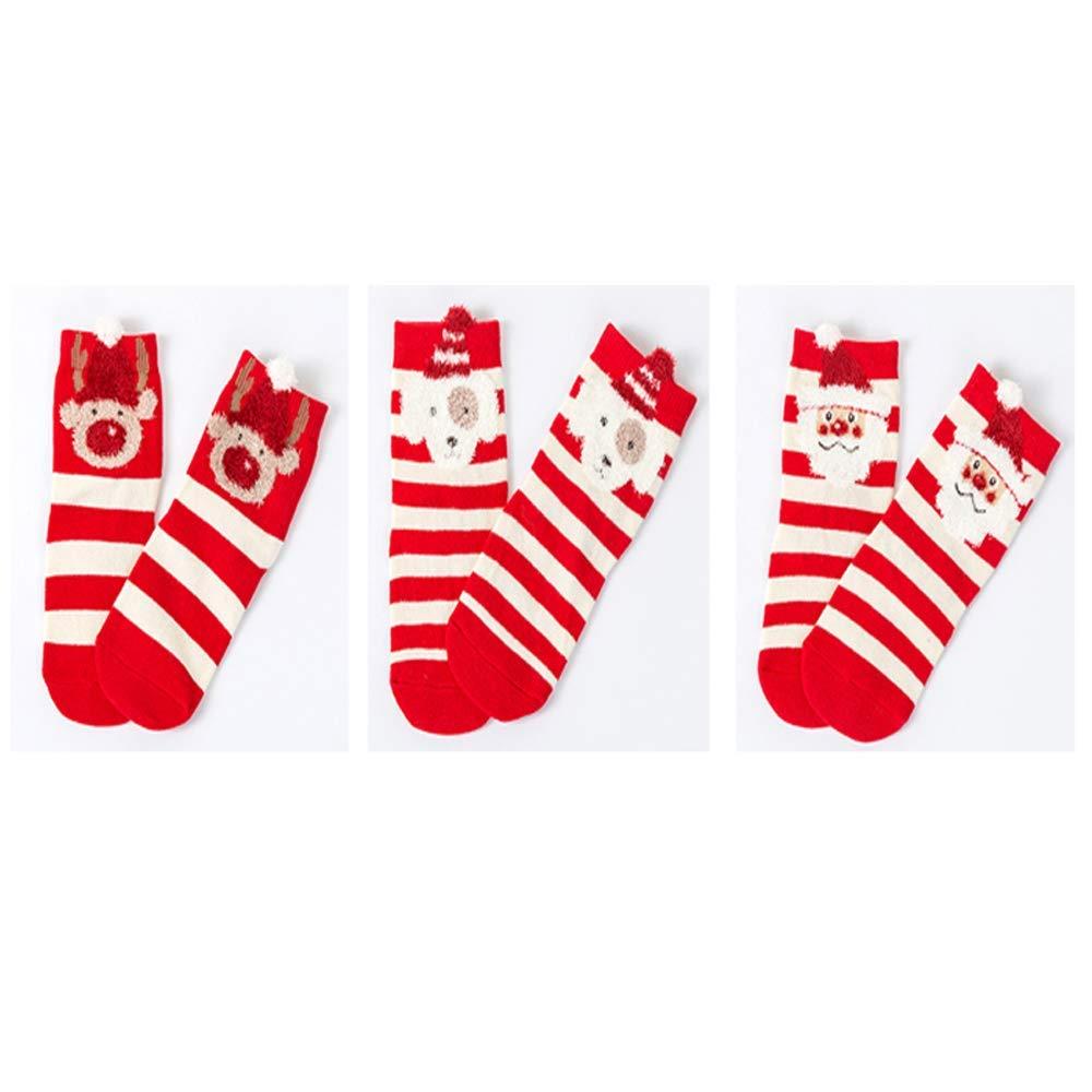 3pcs Xmas Unisex-Baby Knee High Striped Cartoon Socks for Toddler Girls Boys