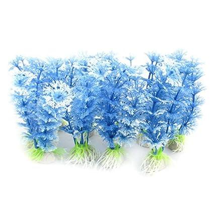 eDealMax 10 piezas de cerámica Base de plástico acuario ornamento planta, Azul/Blanco
