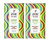 Zoe for Kids Organic Extra Virgin Olive Oil 12.7 FL. OZ. tin 2 Count, Organic Spanish Extra Virgin Olive Oil, First Cold Pressing of Spanish Hojiblanca and Arbequina Olives, Aromatic Buttery Flavor