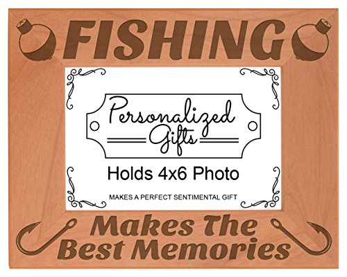 ThisWear Fishing Picture Frame Fishing Makes The Best Memories Fish Gifts Wood Engraved 4x6 Landscape Frame (Picture Fishing Pole With Frames)