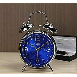 Usany Metal creative double - bell alarm clock mute alarm table luminous electronic alarm quartz alarm clock students to fight the bell
