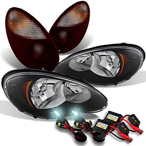 Chrysler PT Cruiser Black Headlights Head Lamps + Dark Red Tail Lights + Slim Ballast 8000K HID (Chrysler Pt Cruiser Body Kits)
