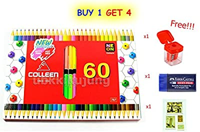 Colleen Colored Pencils Neon 60 Color Hezagon (2 Sides of 30 Pencils) with Special Gift Only 100 Set.