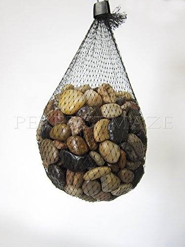 River Accents Pebble - Perfectmaze Flat Clear Marbles, Pebbles for Vase Filler, Table Scatter, Aquarium Decor, Gravel Accents (5 lbs, River Rocks)