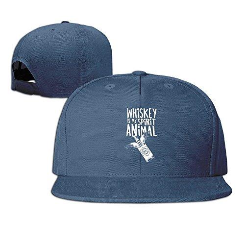 MaNeg Whiskey Is My Spirit Animal Unisex Fashion Cool Adjustable Snapback Baseball Cap Hat One Size Navy