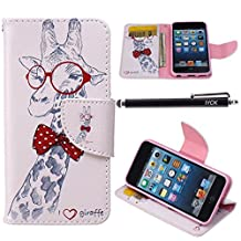 iPod Touch 5 Case, i Touch 6 Case Wallet, iYCK Premium PU Leather Flip Folio Carrying Magnetic Closure Protective Shell Wallet Case Cover for iPod Touch 5/6 with Kickstand Stand - Cartoon Giraffe