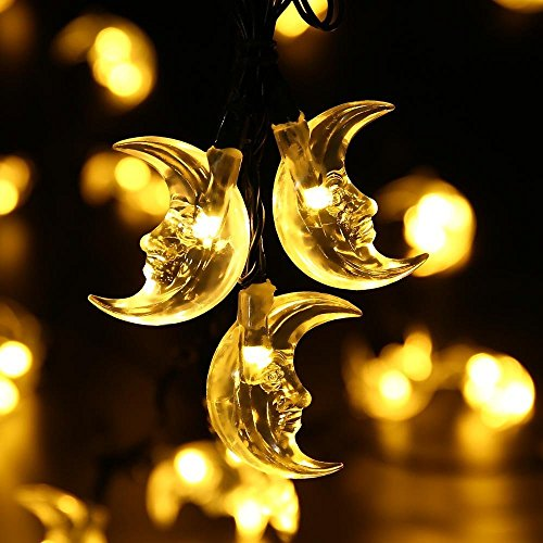 Fairy Lights Moon Shaped Decor String Lights DIY Design Xmas Outdoor Party Bistro Cafe Interior Room Desk Bed Wall Curtain Window Lamp Bulbs by DMZing (Yellow) (Outdoor Patio Ideas Diy)