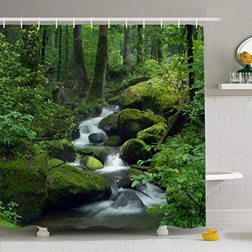(Ahawoso Shower Curtain 66x72 Inches Greenery Green Waterfall Cascade Falls Over Mossy Rocks Nature Creek Forest Parks Water Stream River Waterproof Polyester Fabric Set with Hooks)