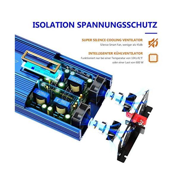 51NCZqu%2Bo7L Reiner Sinus Wechselrichter 1500W Spannungswandler 12V auf 230V Power Inverter mit 2 AC-Steckdosen 2x2.4A USB-Anschlüsse…