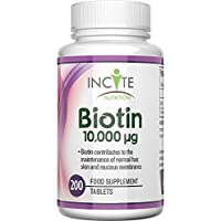 Vitaminas para el crecimiento del cabello Incite Nutrition Biotin, 10000MCG, 200 tabletas de 6