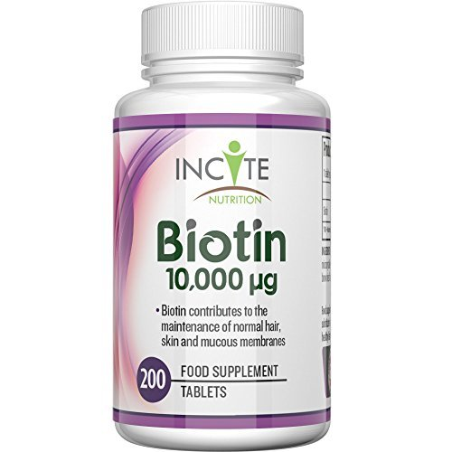 Biotin Haarwuchs Vitamin 10, 000MCG 6 Monate + 200 6mm Tabletten - Beste Ergänzungsmittel für Haarausfall Beste Schönheitsbehandlung für Männer und Frauen - Incite Nutrition Biotin B7 Komplex