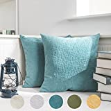 Decorative Pillow Cover - Kevin Textile Velvet Decoration Throw Pillow Case Comfatbale Square Pillow Cover Soft Striped Decorative Cushion Covers for Bed/Chair/Couch, 18