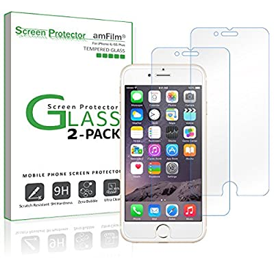 iPhone 6S Plus Screen Protector, amFilm iPhone 6S Plus Tempered Glass Screen Protector for Apple iPhone 6 Plus, iPhone 6S Plus 2015 (2-Pack)