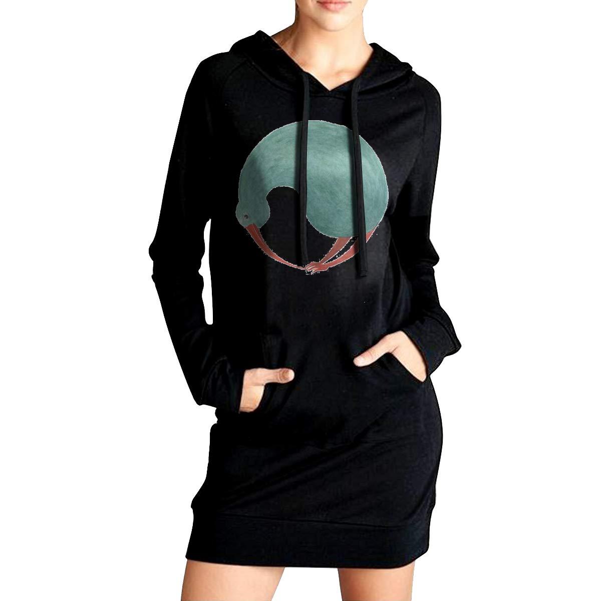 Northern Nebula Kiwi Bird Womens Long Sleeve Hoodie Tunic Dress Solid Pullover Loose Sweatshirt Long Tops