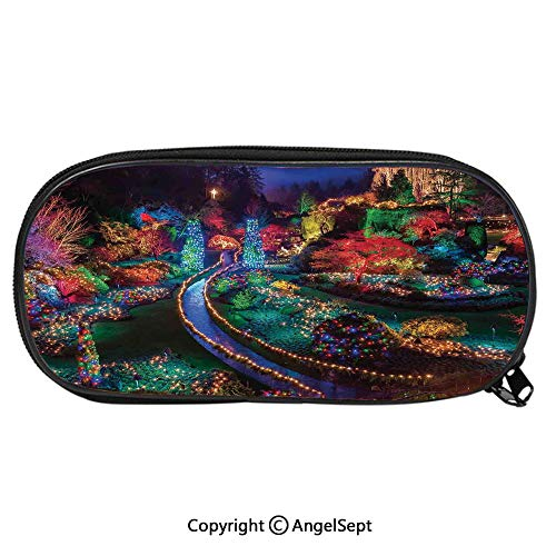 102D Printing Pattern Pencil CaseColorful Christmas Light at Buchart Gardens Celebrations Seasonal Nature Picture for Children Teenager Pen Box Pencil Pouch Desk for Boys and GirlsTeal Red from AngelPencil
