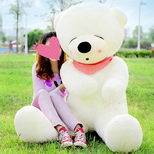 80CM Cuddly Stuffed Teddy Bear Toy Plush for Girl Children White - 2