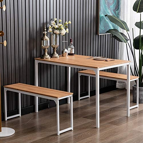 Bonzy Home Dining Room Table Set 3, 3 Piece Kitchen Table Set with Two Benches, Modern Wood Look Table Set for Kitchen,Dining Room, Restaurant (Off White)
