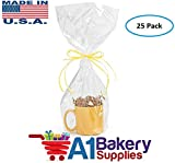 A1BakerySupplies(TM) High Quality Gift Wrap Cellophane Bags Preimum Quality Bags Made in USA - 25 Pack 1.2 MIL (9 x 20)
