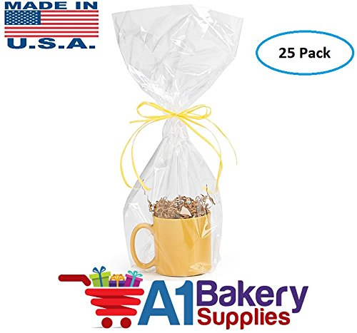 A1BakerySupplies(TM) High Quality Gift Wrap Cellophane Bags Preimum Quality Bags Made in USA - 25 Pack 1.2 MIL (9 x 20) by A1 Bakery Supplies