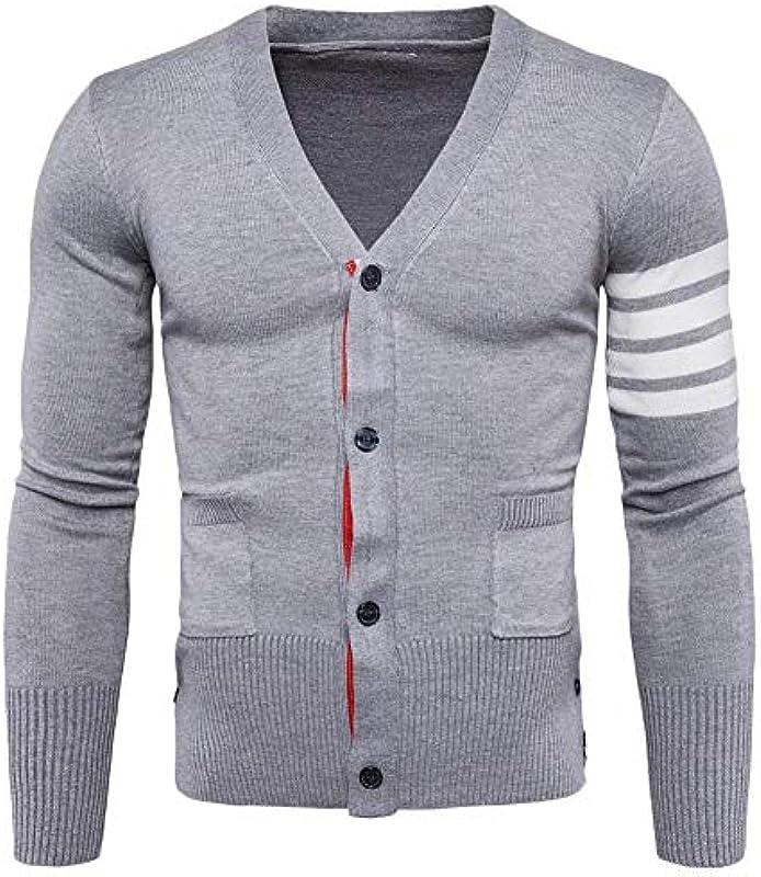 Męska kurtka z dzianiny Cardigan drobny dzianina długi rękaw V Splice odzież wycięcia paski i przyciski listwa guzikowa bluza płaszcz dziany: Odzież