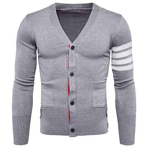 À Tricoté Cardigan Col Splice Longues shirt Mieuid Placket Et Manteau Chic Strip En Hommes Sweat Manches Bouton V Hellgrau wtBwq