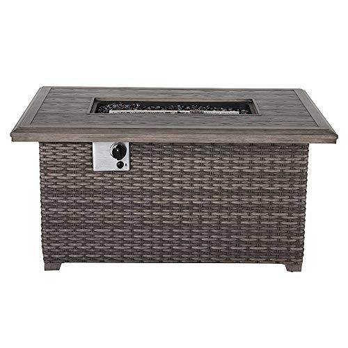 Nuu Garden Tenaya 46-Inch Gas Propane Rattan Fire Pit with Lid Cover Aluminum Frame Outdoor Patio Rectangle (Frame Gas Pit Fire)