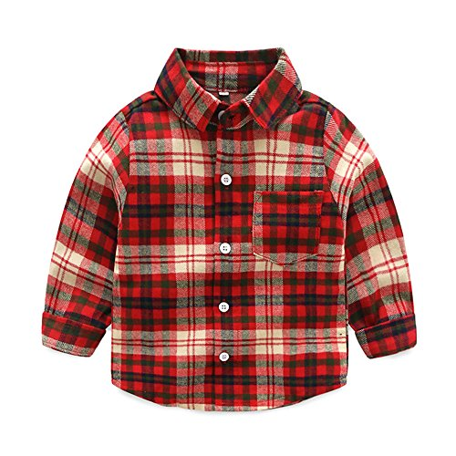 Tem Doger Little Boys' Long Sleeve One Pocket Button Down Plaid Flannel Shirt (90/12-18 Months)
