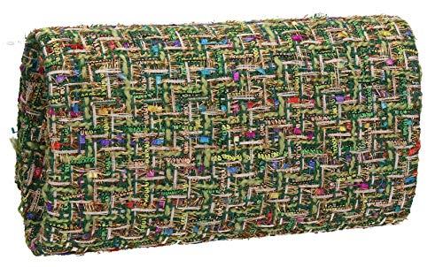 SWANKYSWANS Ragged Weave Bag Clutch Womens Charlotte Party Green zzqwfrP