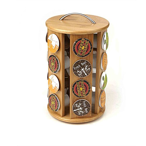 Mind Reader Bamboo 30 Capacity K-Cup Single Serve Coffee Pod Holder Carousel, Brown (Keurig Cup Holder Wood)
