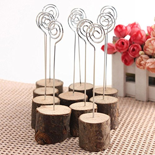 Photo Clip Rustic Real Wood Base Table Name Number Holder Picture and Memo Note Card Holders for Wedding Party Decoration Photo #4
