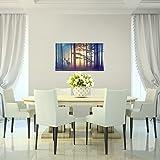 Bilder-Wald-Hirsch-Wandbild-Vlies-Leinwand-Bild-XXL-Format-Wandbilder-Wohnzimmer-Wohnung-Deko-Kunstdrucke-Blau-1-Teilig-100-MADE-IN-GERMANY-Fertig-zum-Aufhngen-013414a