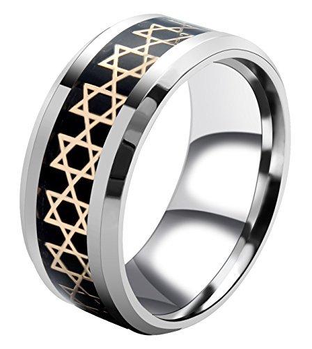AMSENC Jewish Star of David Ring for Men's Women Stainless Steel Christmas Ring Size: 6-13 (White, 6)