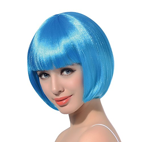 Light Blue Wathet Short Bob Cosplay Flapper Wig-Synthetic Costume Women's Natural Looking Party Bangs Wigs]()