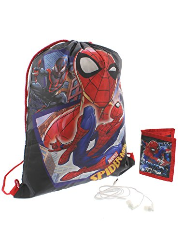 Marvel Spider-Man Boys Drawstring Backpack Headphones and Wallet Boxed Gift Set (Spider-Man Red/Black)
