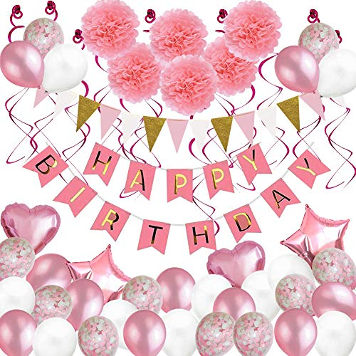 Birthday Decorations,Happy Birthday Party Decoration Kit,Pink Birthday Confetti Balloons Swirls and Tissue Pom Pom for 13th 16th 18th 21st 30th 40th 50th 60th 70th Party Supplies(81pcs)]()