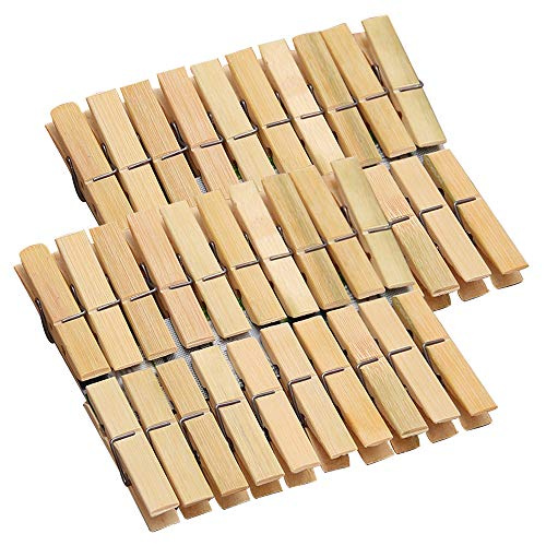 Shiaon Wooden Clothes Pins 40PCS, Sturdy Large Clothespins Set for Hanging Clothing Pants Socks Super Grip Wood Clothes Pegs with Spring - Christmas Home Decoration - 6cm Length Heavy-Duty Craft Pins