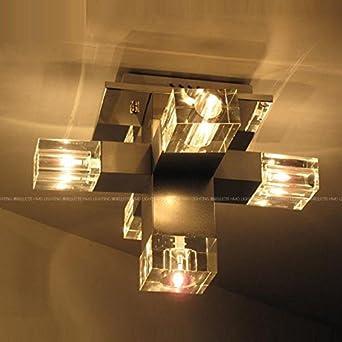 Moderne Aluminium Kristall Cube Schlafzimmer Deckenleuchten Luxus